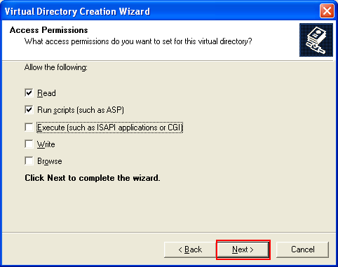 ActivePerl, Perl for Windows - the IIS virtual directory access permission