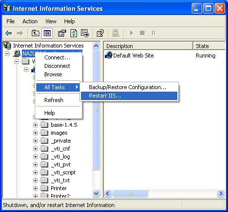 ActivePerl, Perl for Windows - restarting the IIS server from IIS Admin Console