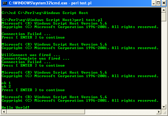ActivePerl, Perl for Windows - testing the Windows Script Host (WSH) from Windows console